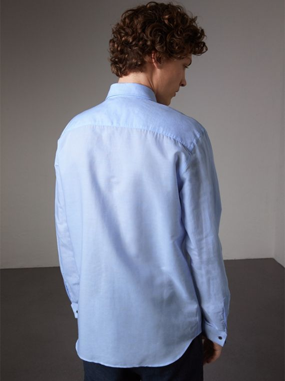 Modern Fit Linen Cotton Dress Shirt in Pale Blue - Men | Burberry - cell image 2