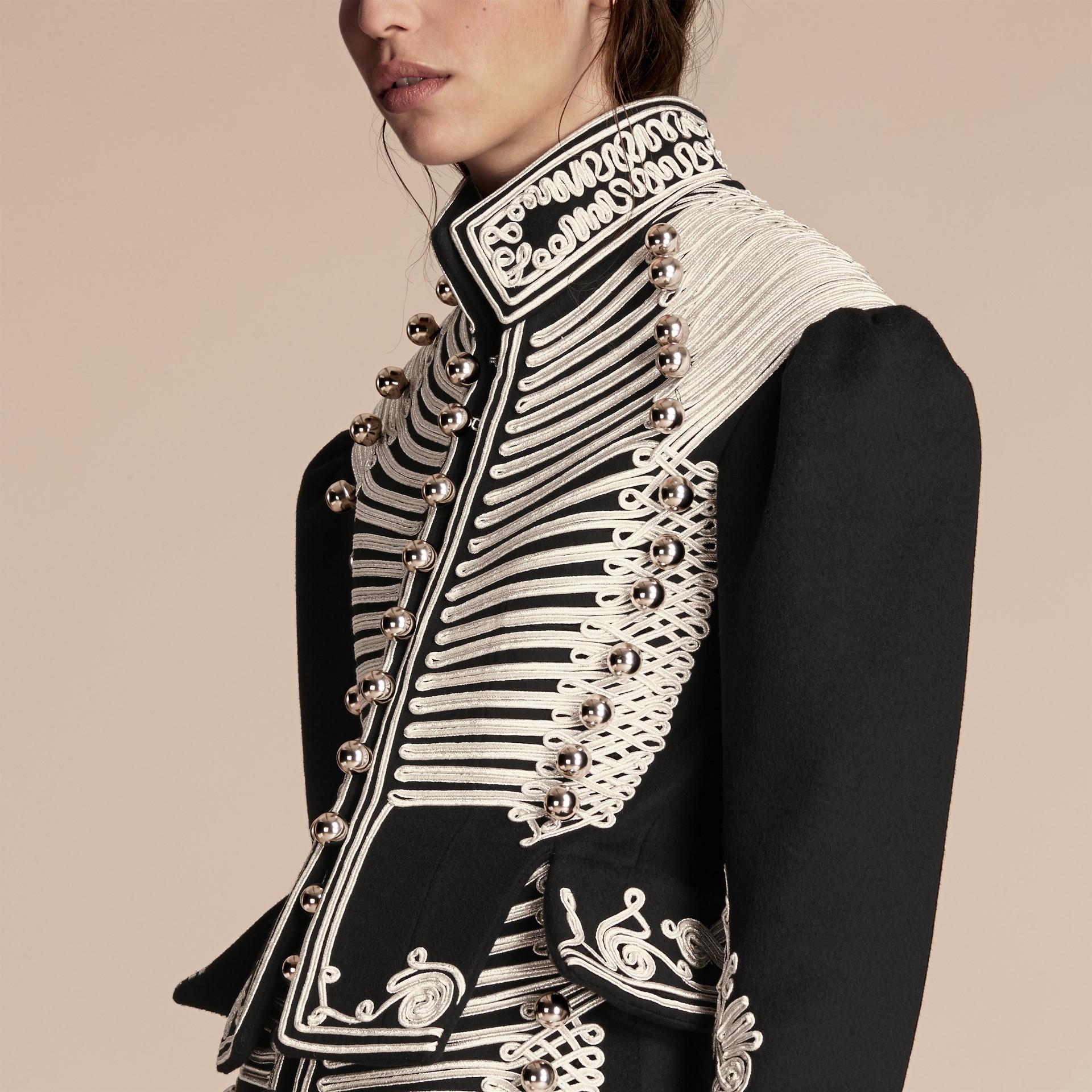 Black Braided Wool Military Coat - gallery image 5