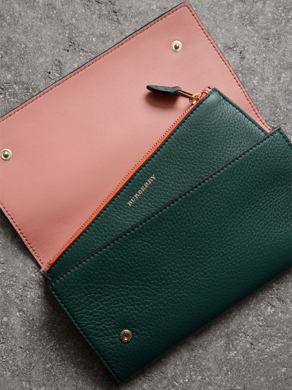 Two-tone Leather Continental Wallet in Dark Cyan - Women | Burberry Australia - cell image 3