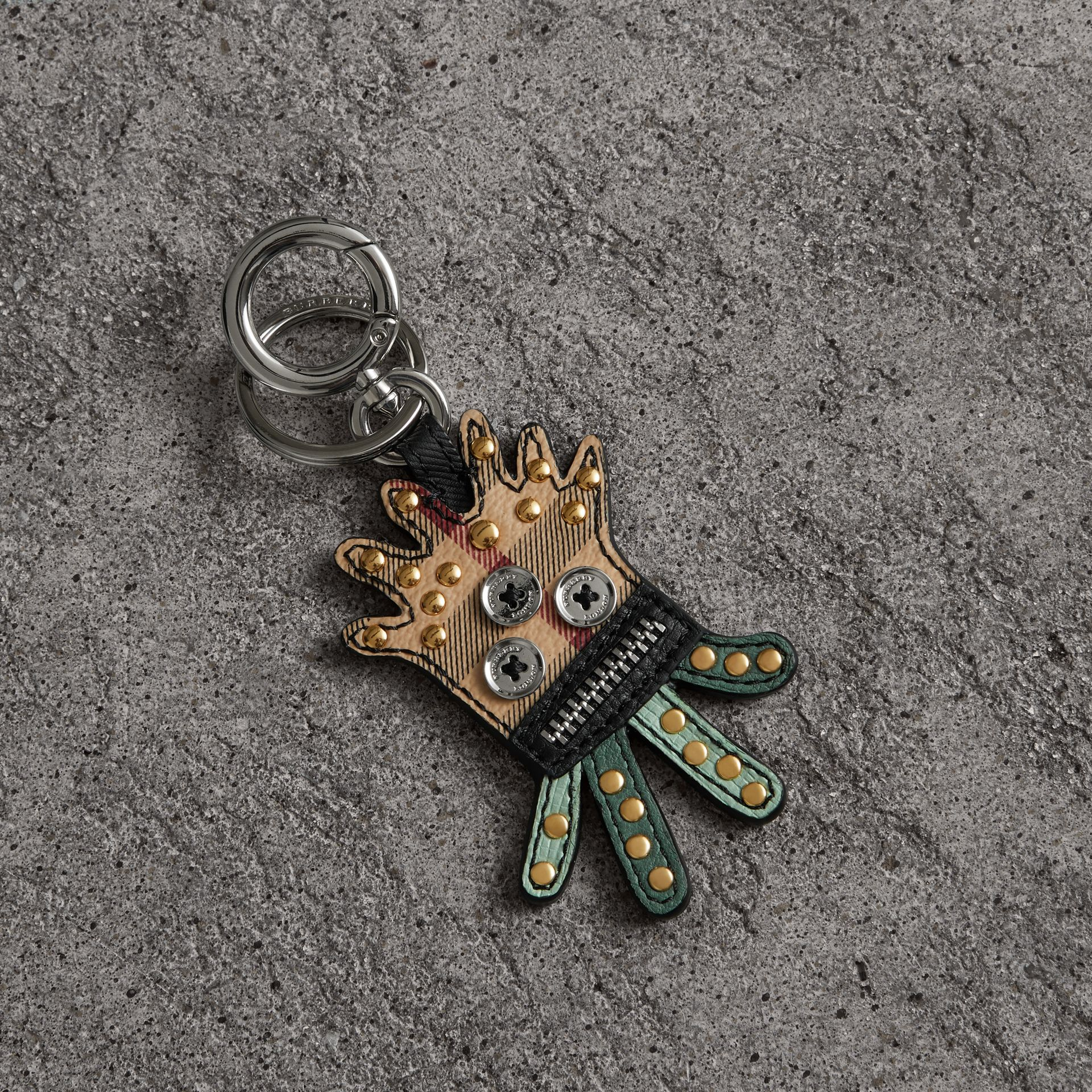 Creature Motif Leather Trim Key Ring in Light Mint | Burberry - gallery image 0