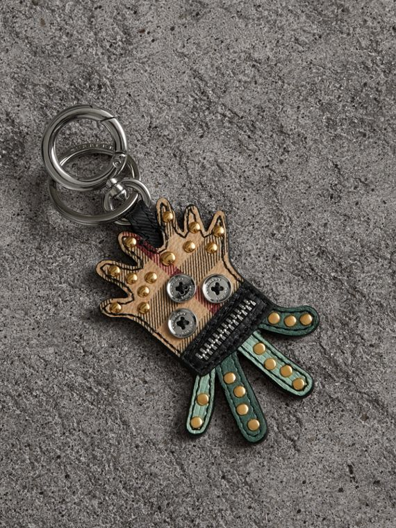 Creature Motif Leather Trim Key Ring in Light Mint