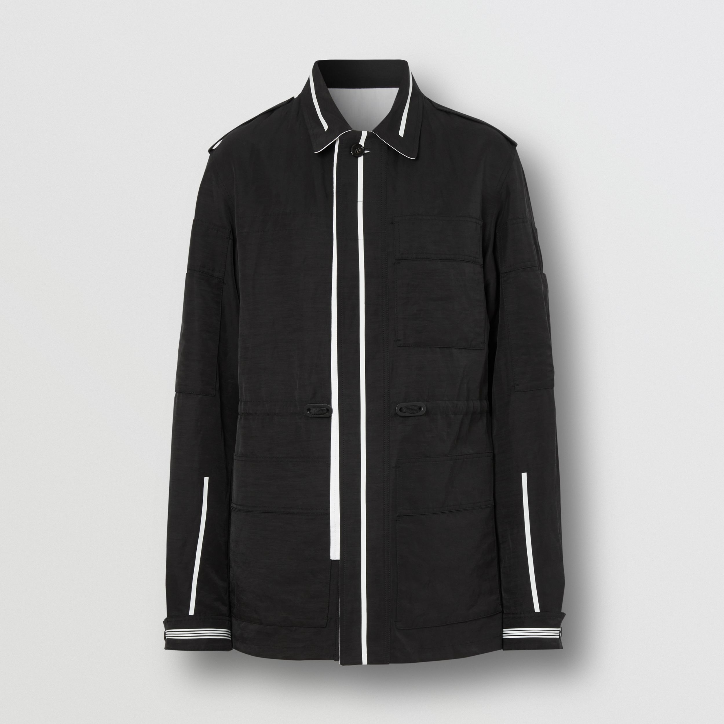 Reversible Striped Technical Linen Field Jacket in Black - Men | Burberry - 4