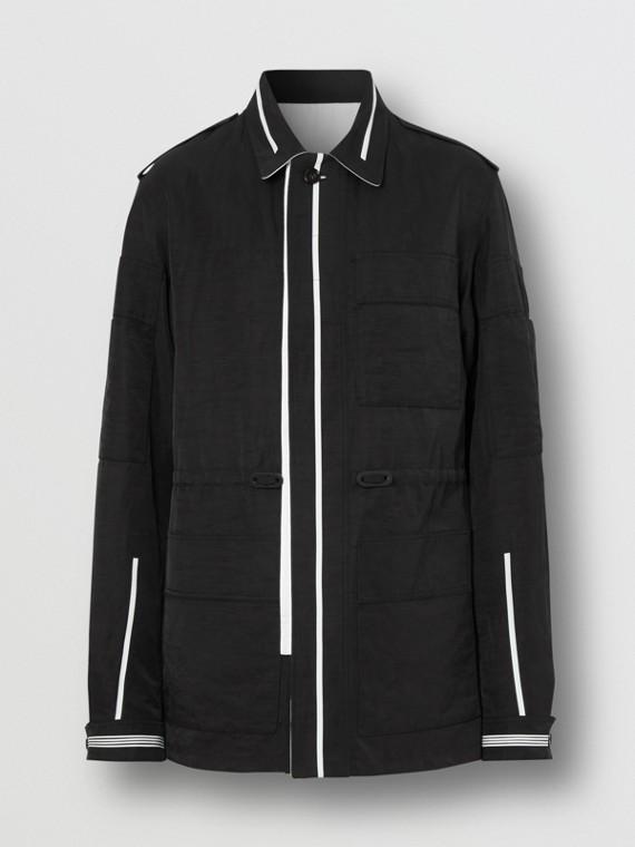 Reversible Striped Technical Linen Field Jacket in Black