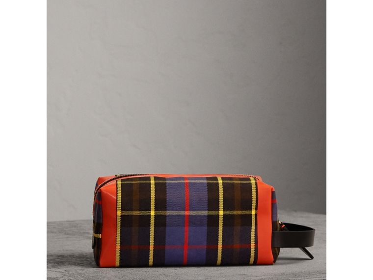 Tartan Cotton Pouch in Cobalt | Burberry - cell image 4