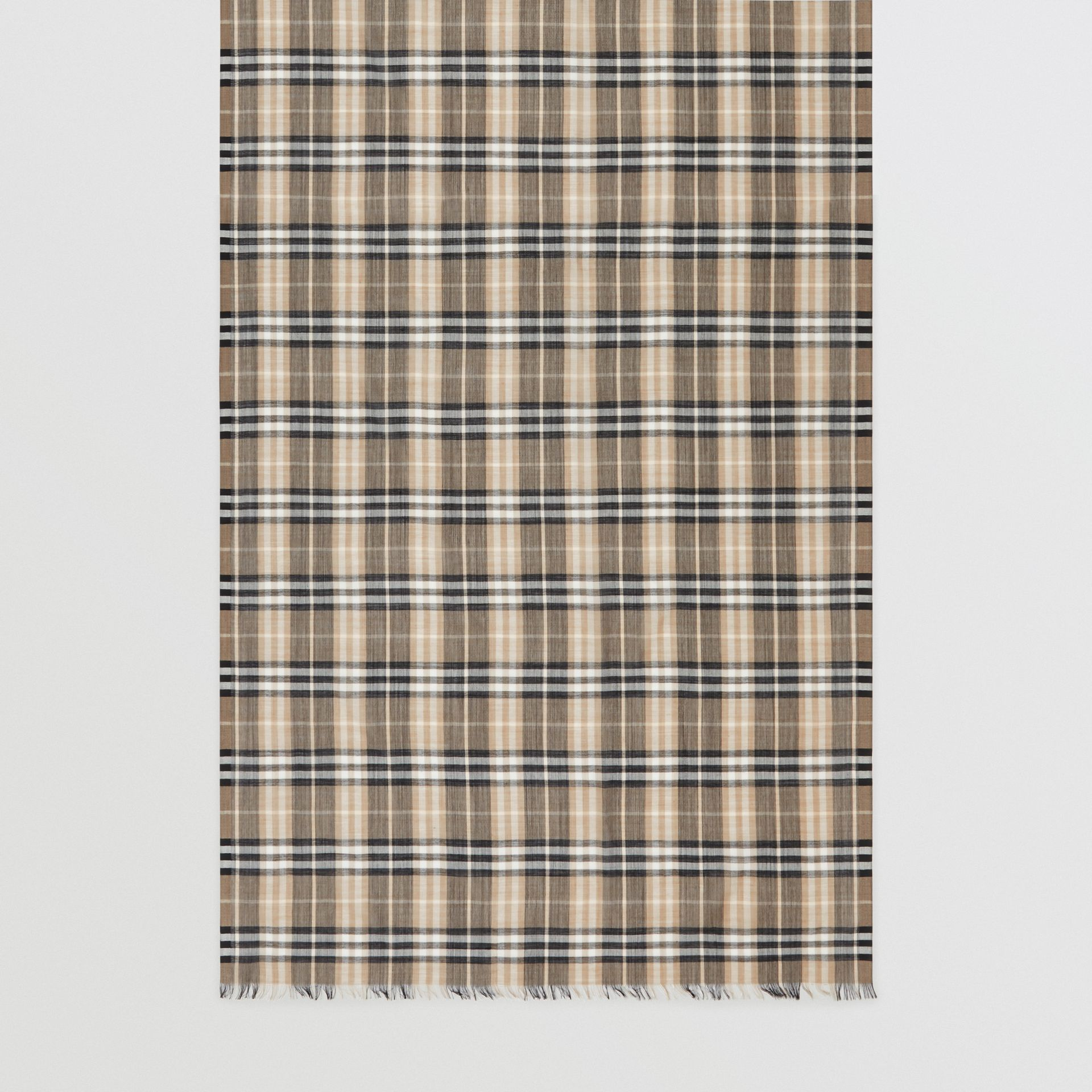 Vintage Check Lightweight Wool Silk Scarf in Pale Honey | Burberry Hong Kong - gallery image 3