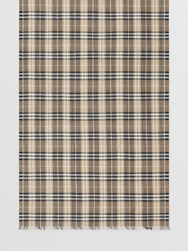 Vintage Check Lightweight Wool Silk Scarf in Pale Honey | Burberry Australia - cell image 3