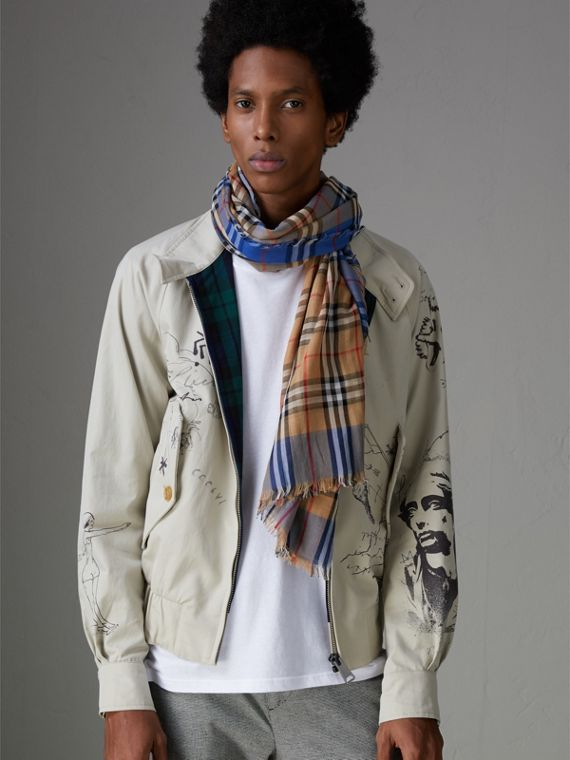 Two-tone Vintage Check Cotton Square Scarf in Azure Blue | Burberry Canada - cell image 3