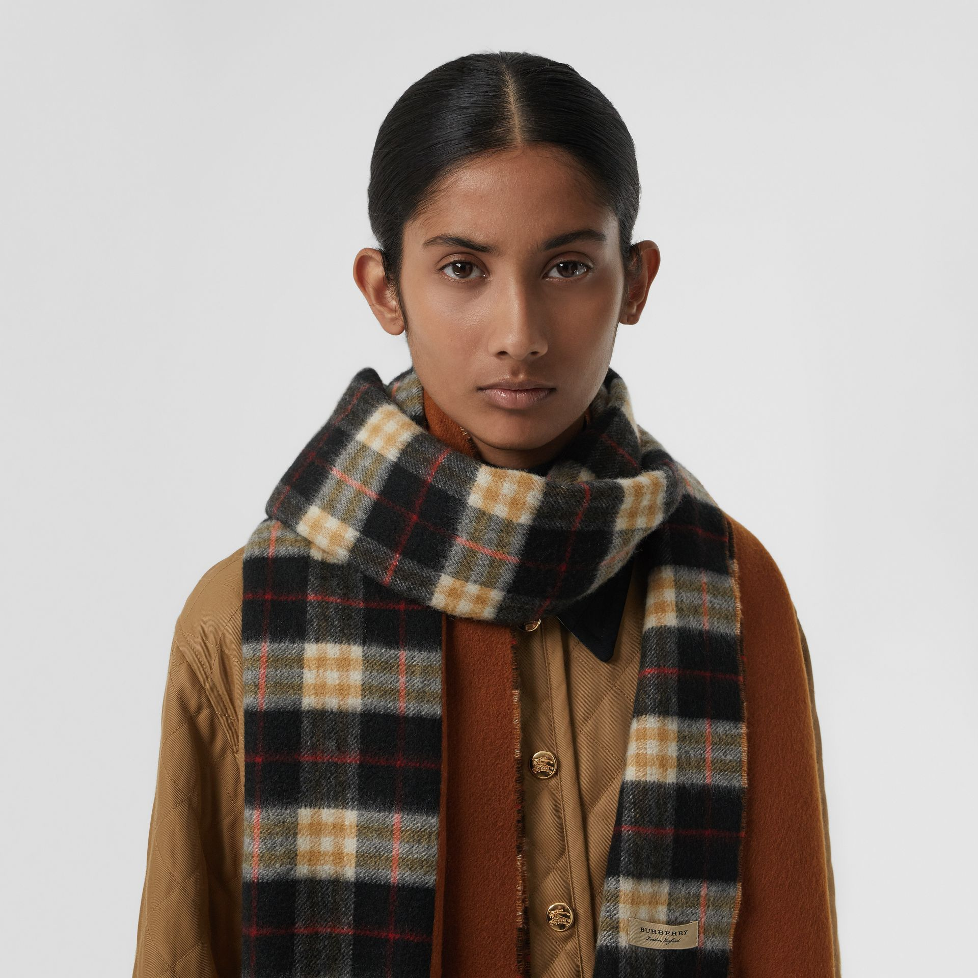 Colour Block Vintage Check Cashmere Scarf in Toffee | Burberry - gallery image 4