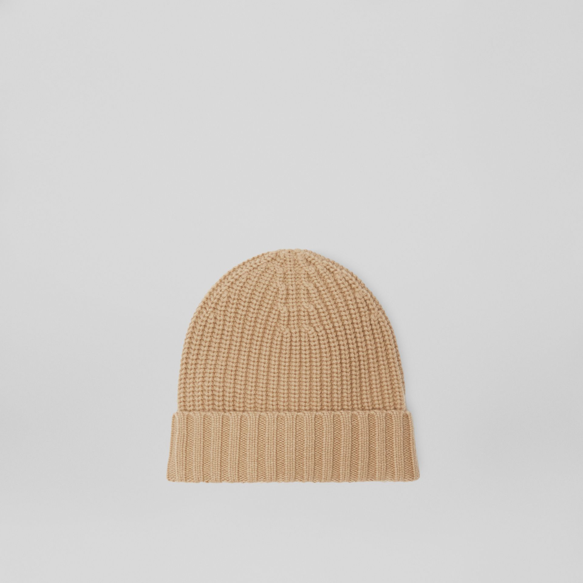 Embroidered Crest Rib Knit Wool Cashmere Beanie in Sand | Burberry - gallery image 4