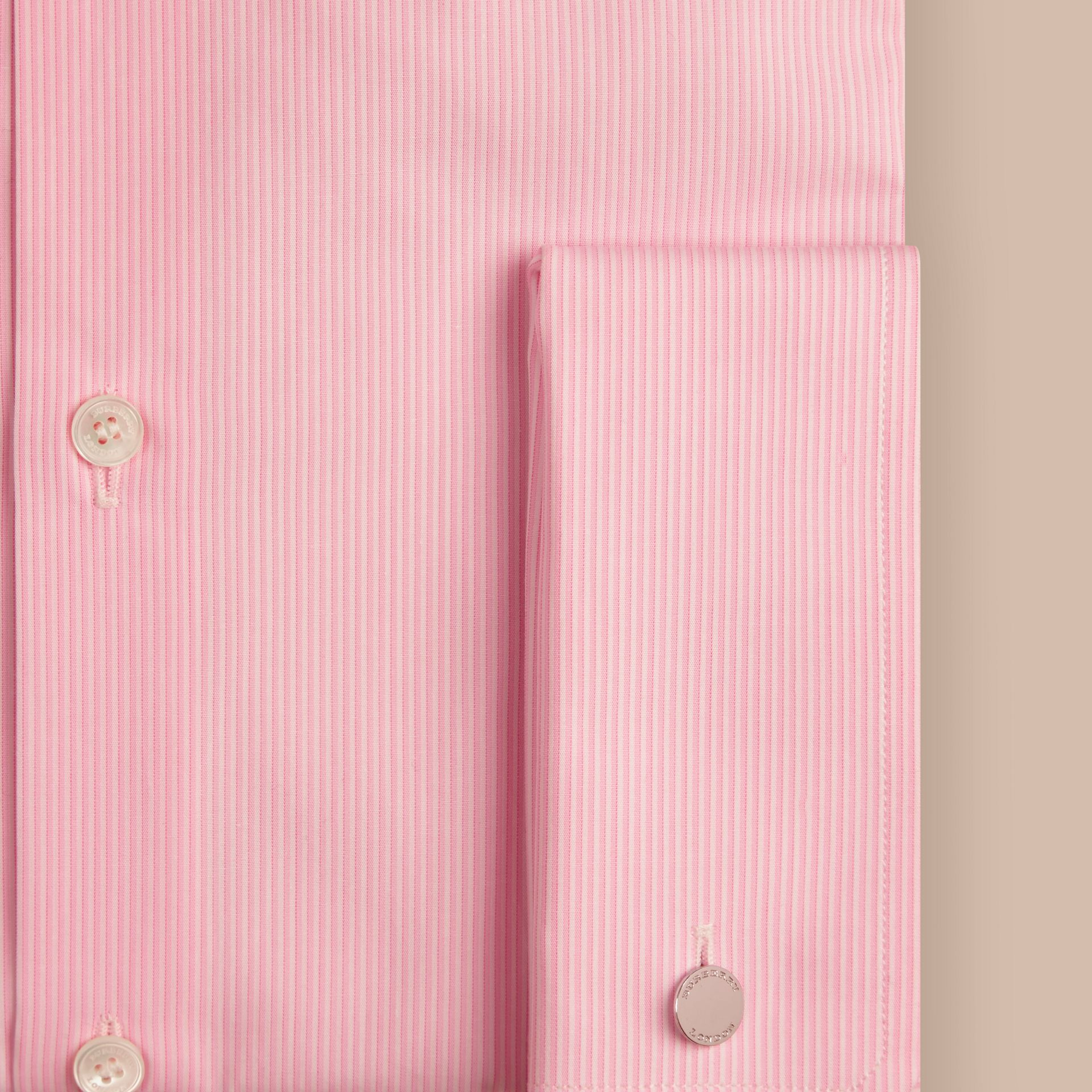 Slim Fit Double-cuff Striped Cotton Poplin Shirt in City Pink - gallery image 2