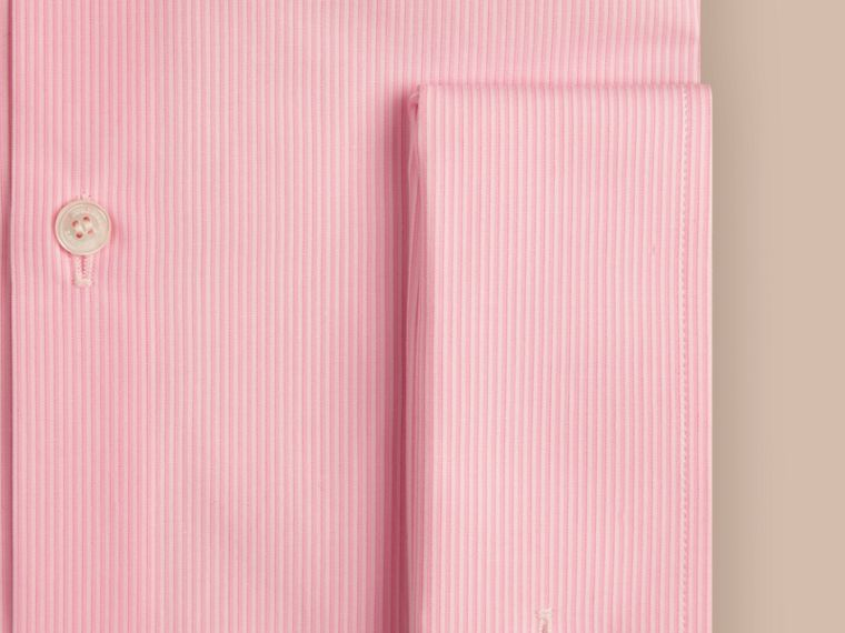 Slim Fit Double-cuff Striped Cotton Poplin Shirt in City Pink - cell image 1