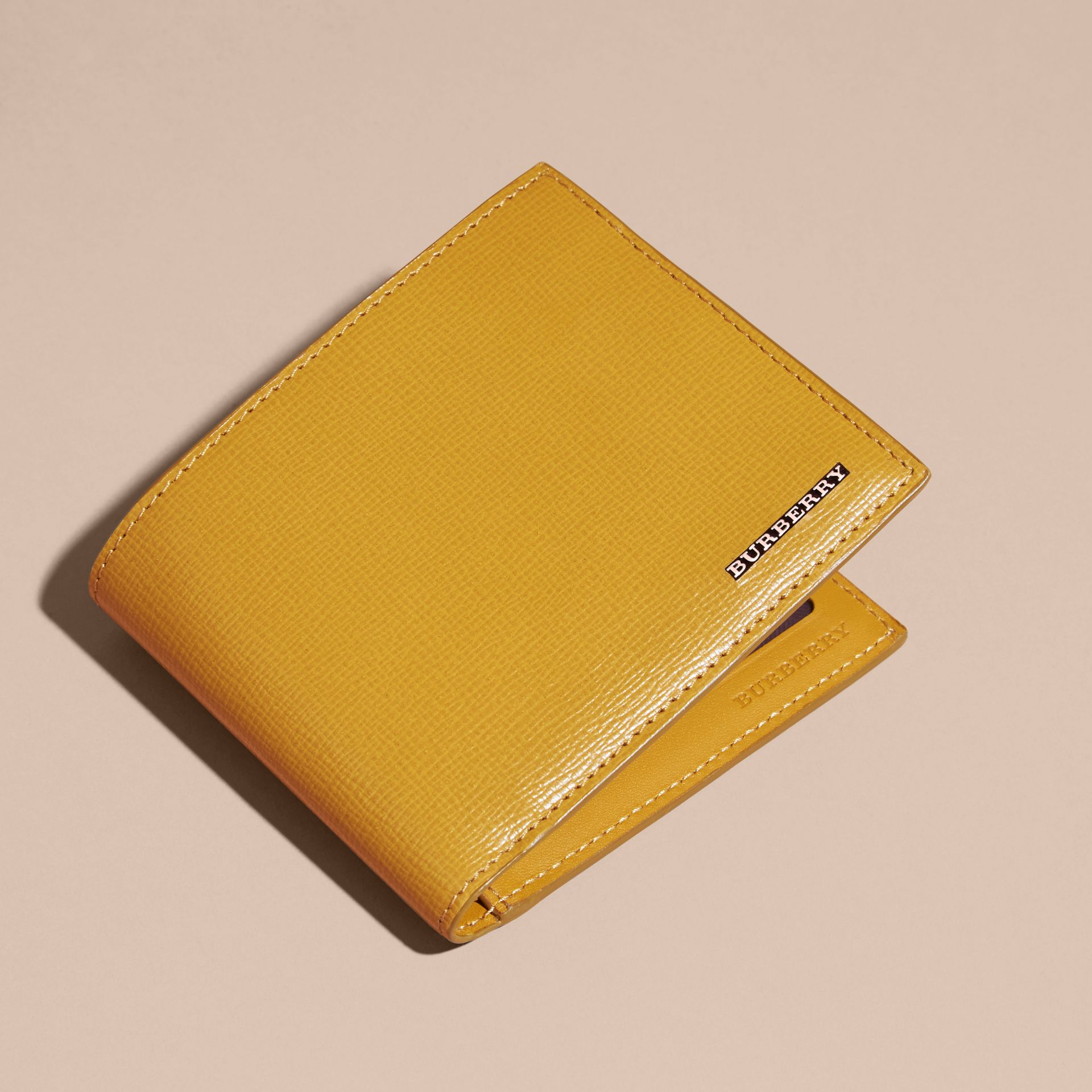 London Leather ID Wallet in Larch Yellow - gallery image 3