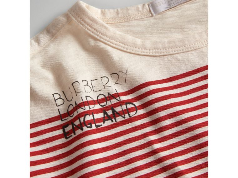 SW1 Print Striped Cotton Top in Bright Red/natural White - Boy | Burberry United Kingdom - cell image 1