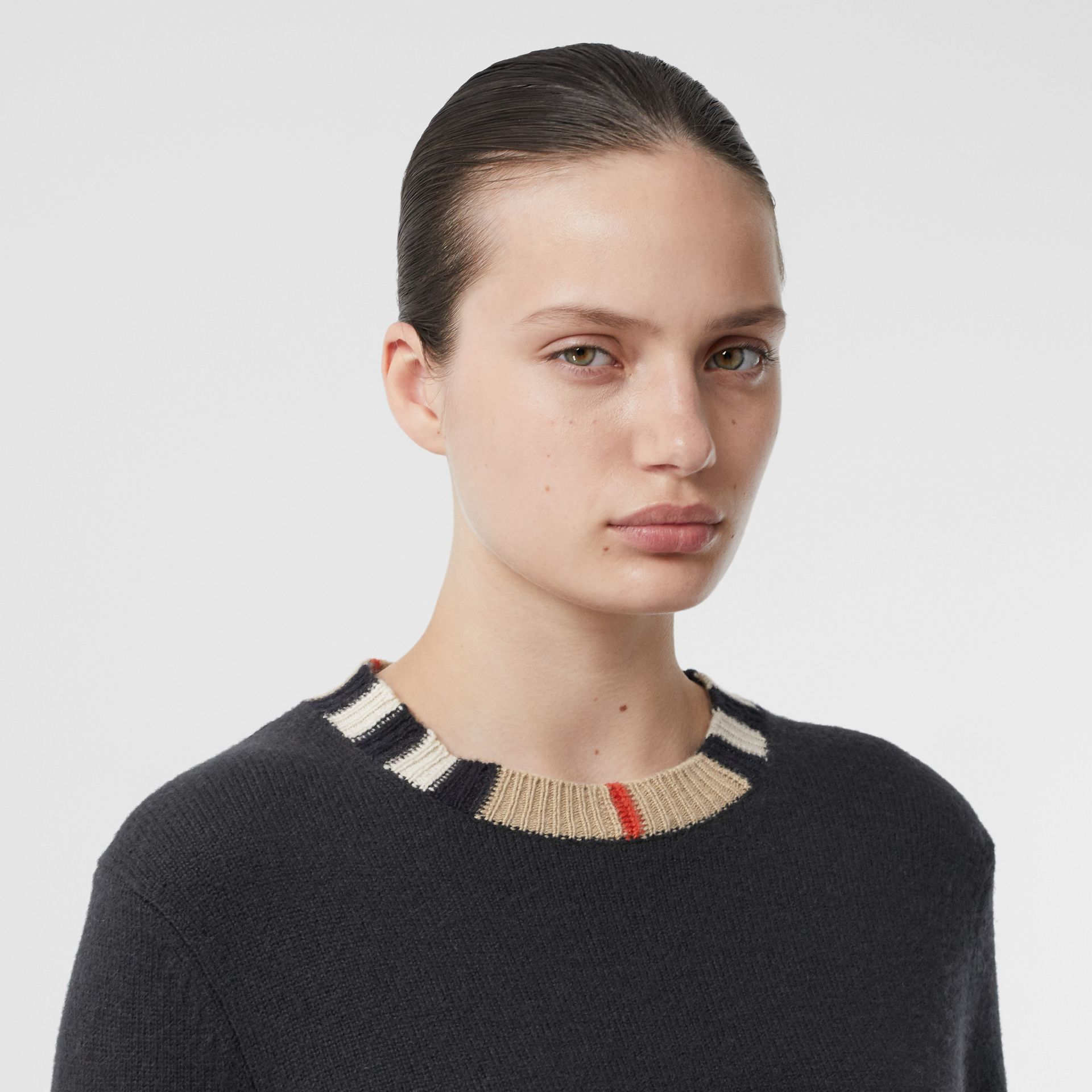 Icon Stripe Trim Cashmere Sweater in Black - Women | Burberry - gallery image 1