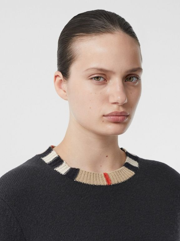 Icon Stripe Trim Cashmere Sweater in Black - Women | Burberry - cell image 1