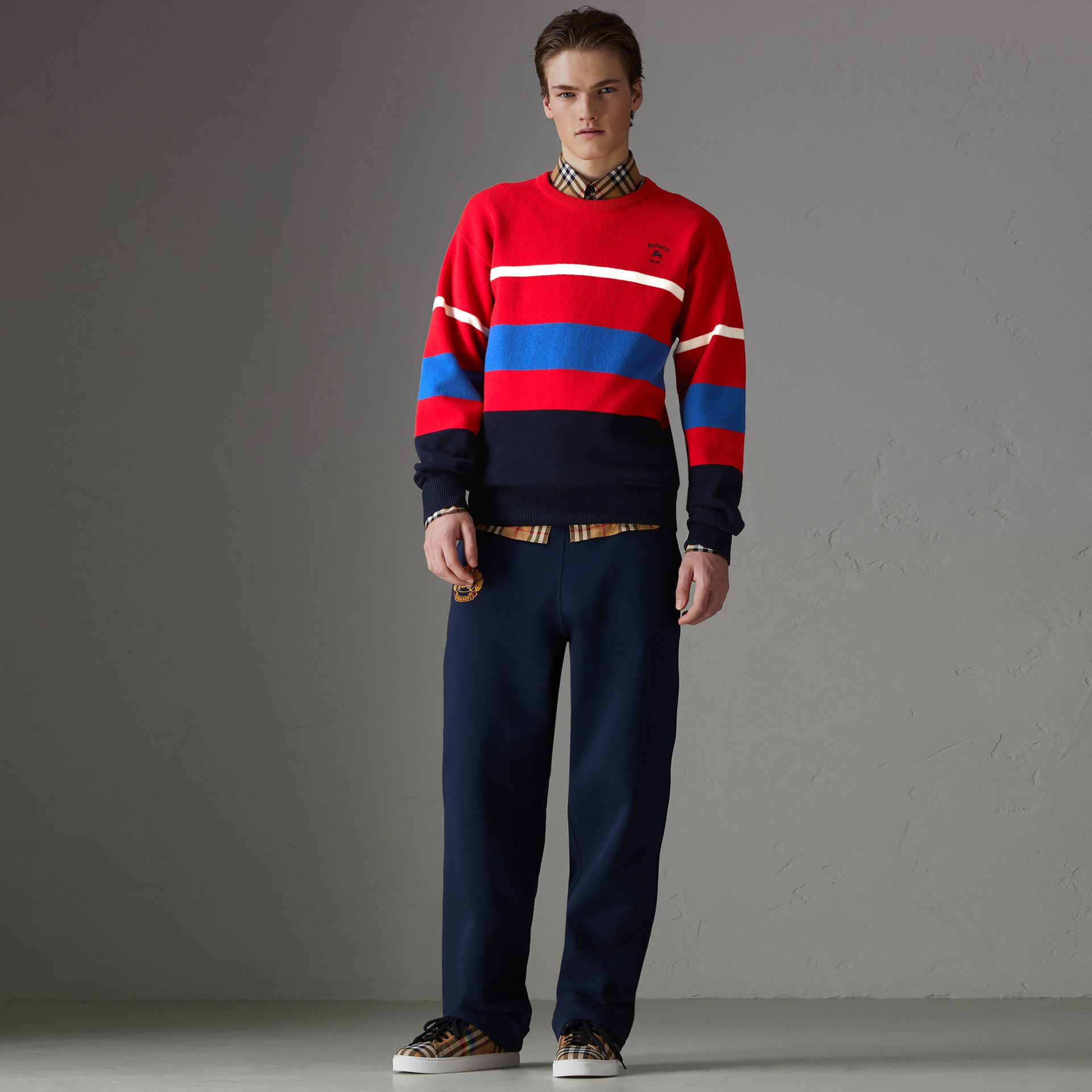 Reissued Lambswool Sweater in Red - Men | Burberry - gallery image 0