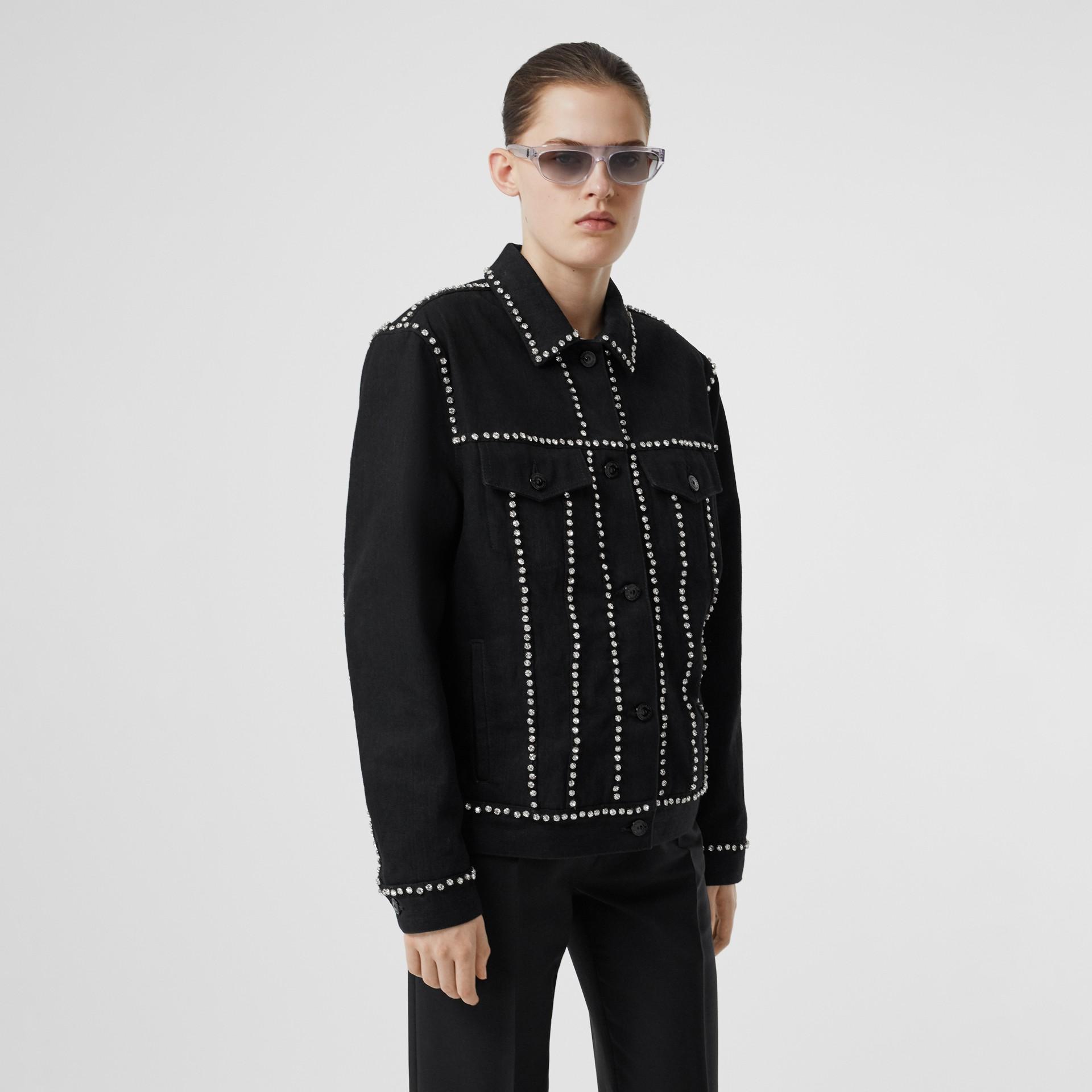Crystal Logo Detail Japanese Denim Jacket in Black - Women | Burberry United Kingdom - gallery image 4