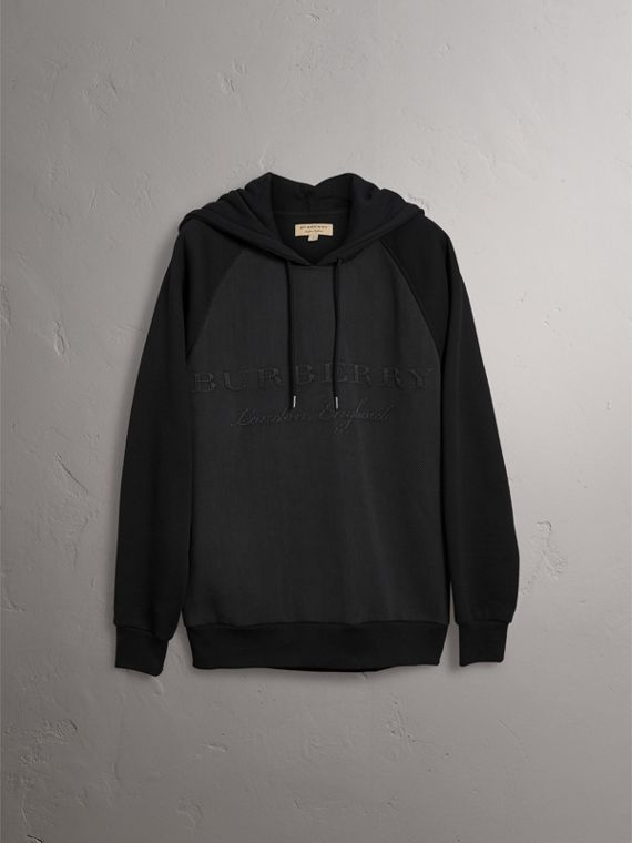 Silk-blend Panel Detail Jersey Hooded Top in Black - Men | Burberry - cell image 3