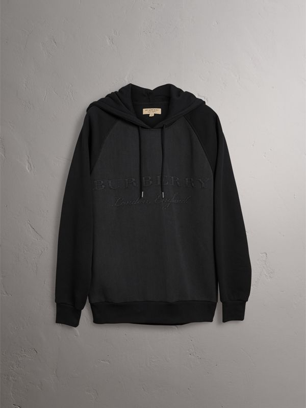 Silk Blend Panel Detail Jersey Hooded Top in Black - Men | Burberry - cell image 3