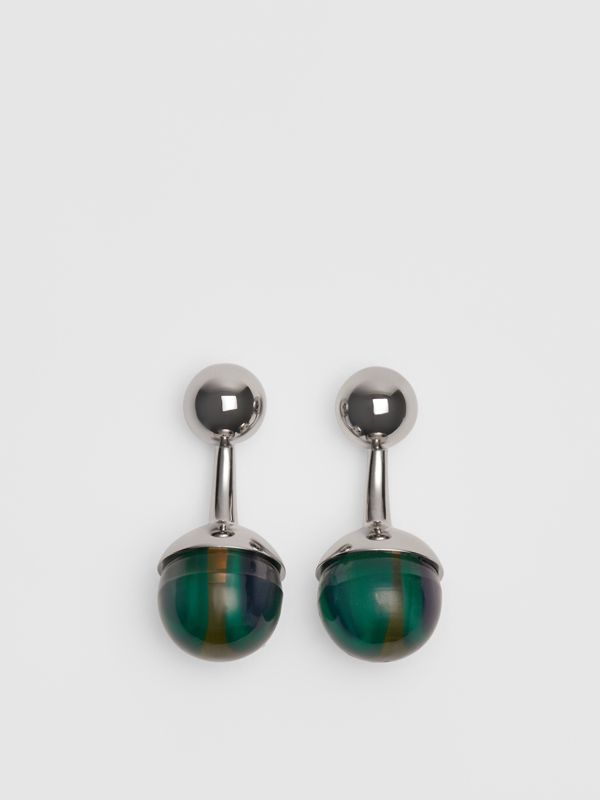 Marble and Brass Sphere Cufflinks in Silver/green - Men | Burberry Australia - cell image 2