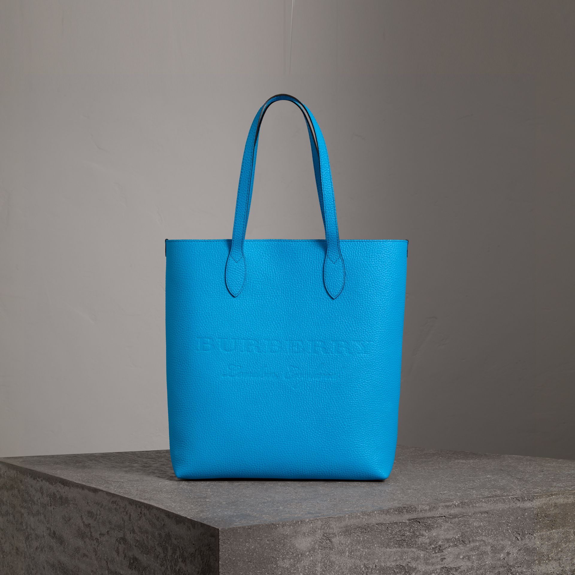 Medium Embossed Leather Tote in Neon Blue | Burberry Singapore - gallery image 0