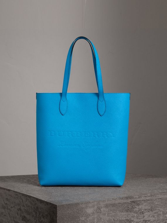 Medium Embossed Leather Tote in Neon Blue