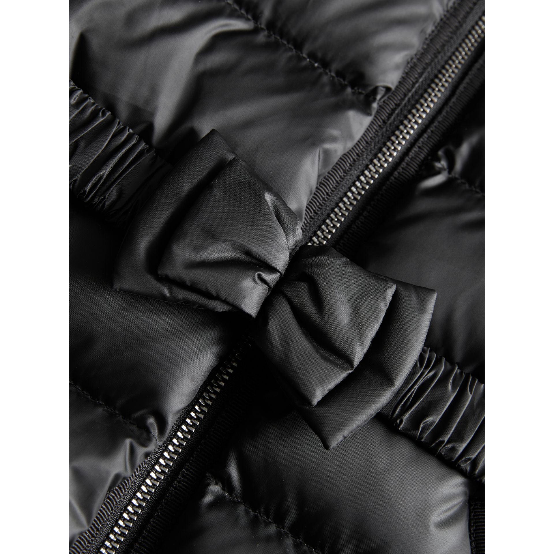 Bow Detail Down-filled Coat in Black | Burberry - gallery image 1