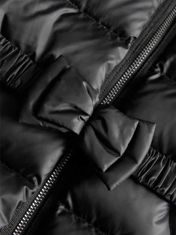 Bow Detail Down-filled Coat in Black | Burberry - cell image 1
