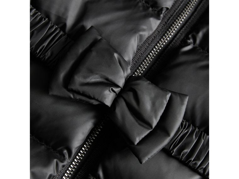 Bow Detail Down-filled Coat in Black | Burberry United Kingdom - cell image 1