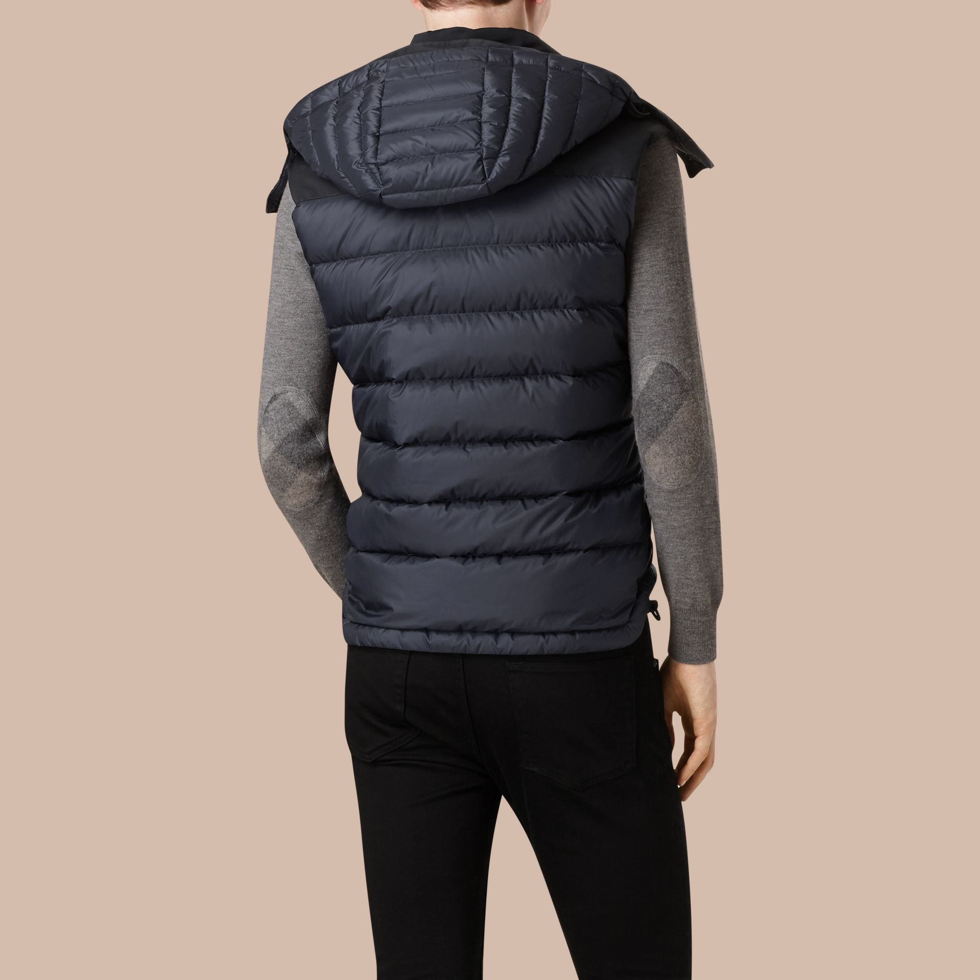 Navy Down-filled Technical Gilet with Detachable Hood Navy - gallery image 3
