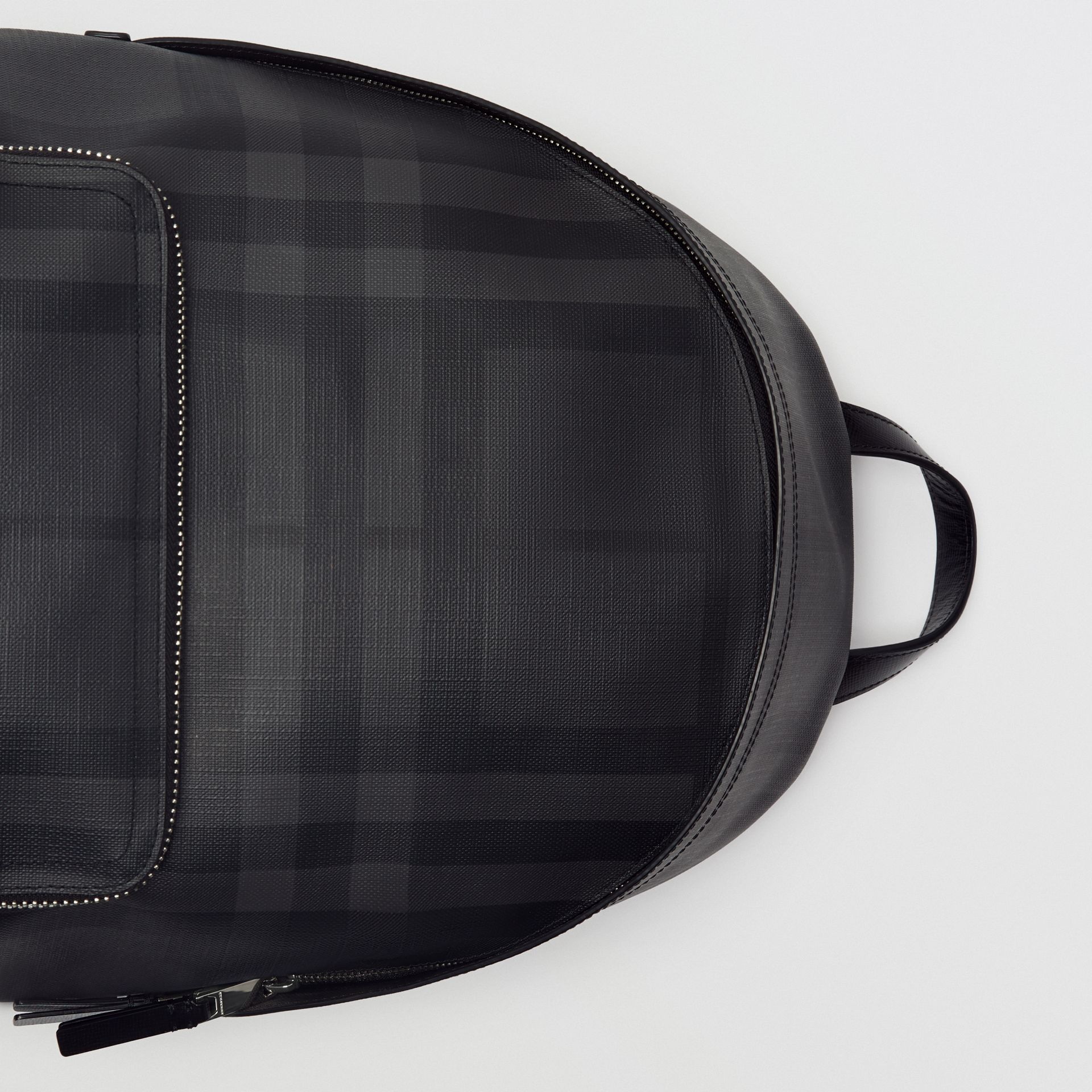 Leather Trim London Check Backpack in Charcoal/black - Men | Burberry Australia - gallery image 1
