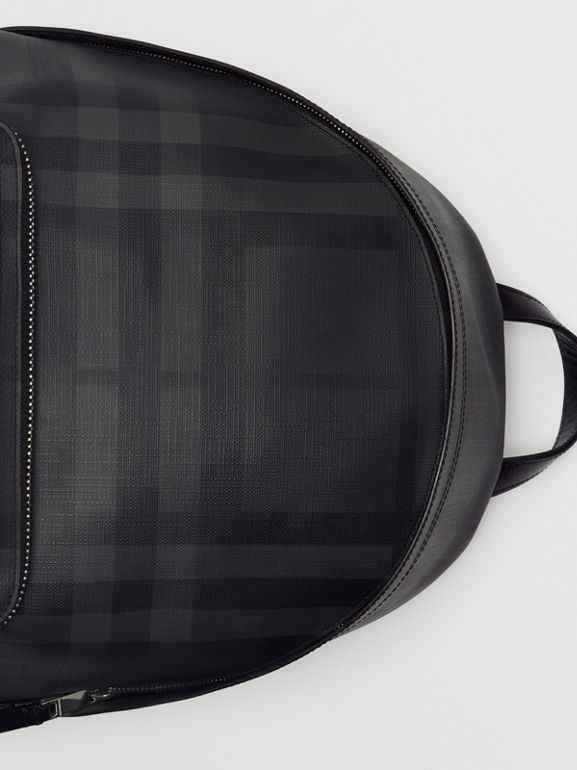 Leather Trim London Check Backpack in Charcoal/black - Men | Burberry Australia - cell image 1