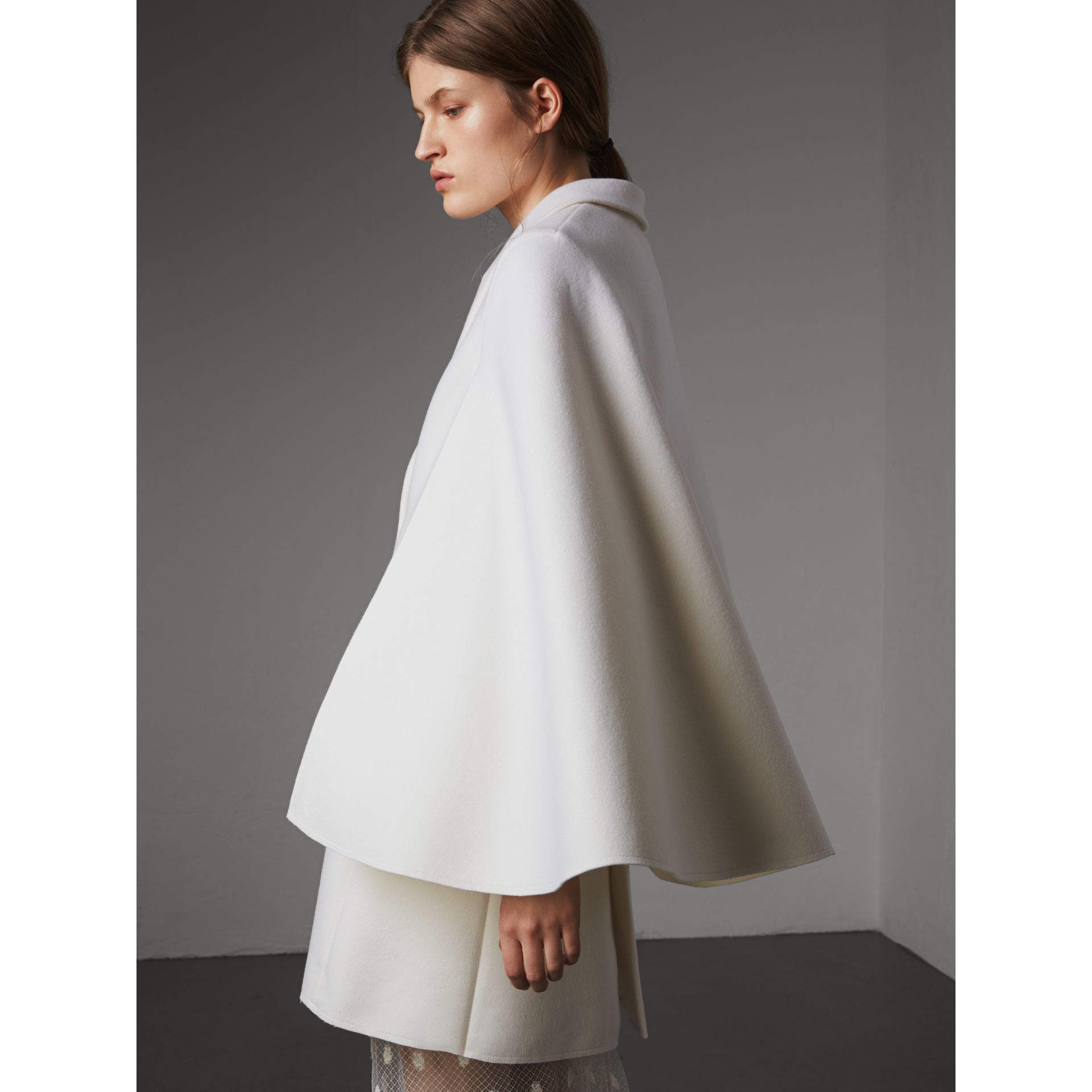 Double-faced Wool Cape Coat in White - Women | Burberry - gallery image 3