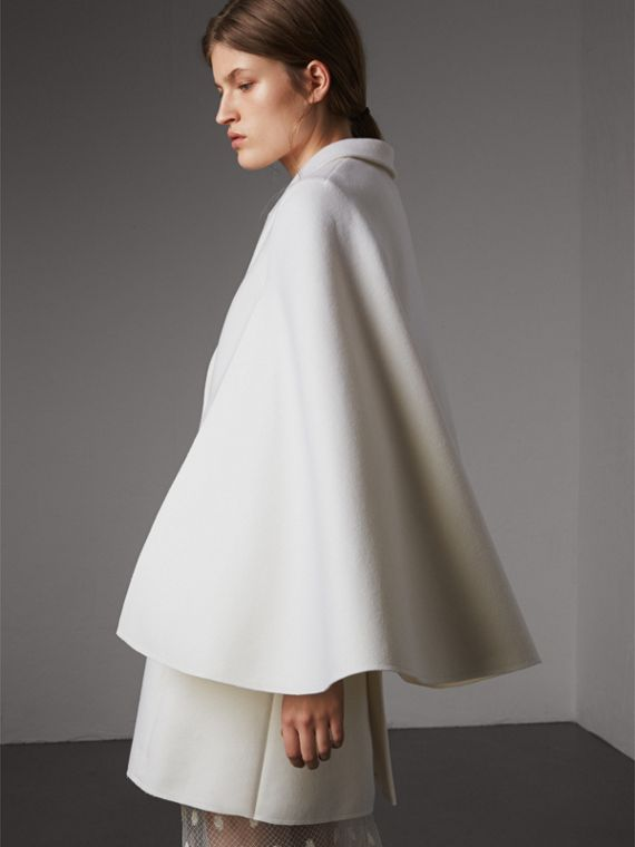 Double-faced Wool Cape Coat in White - Women | Burberry - cell image 2