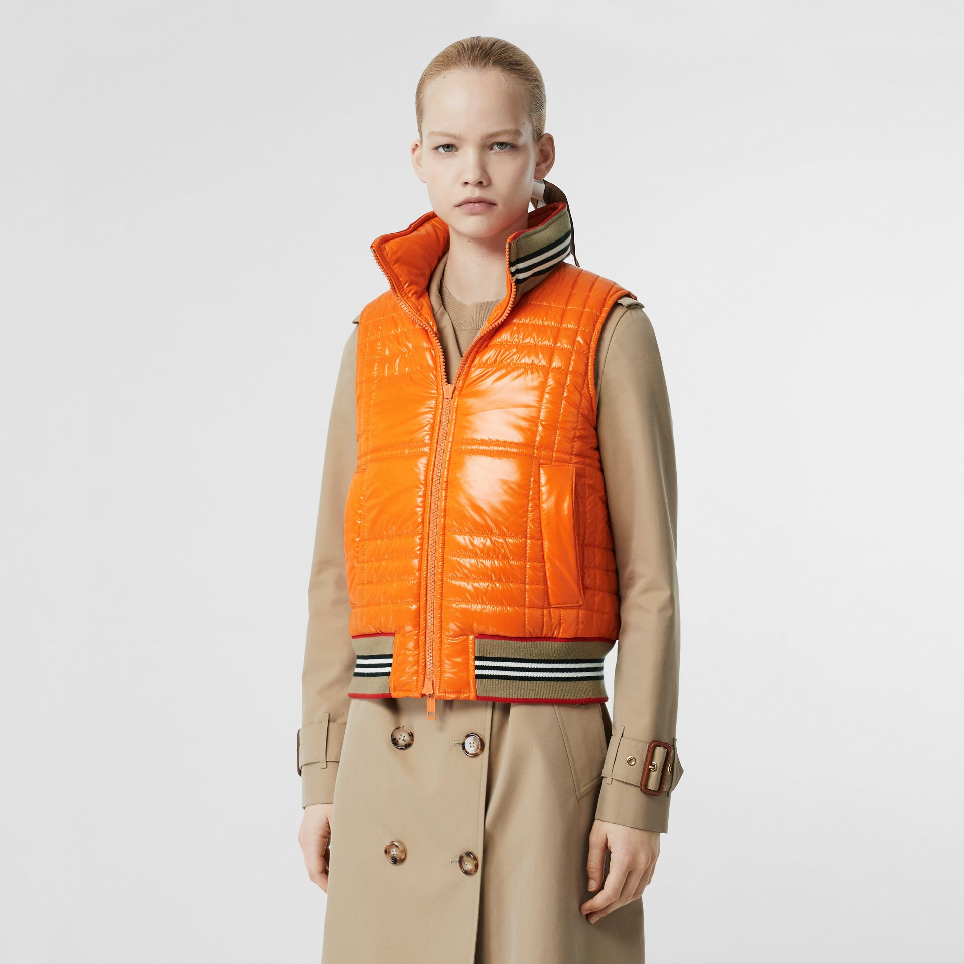 Icon Stripe Detail Down-filled Puffer Gilet in Orange - Women | Burberry - gallery image 4