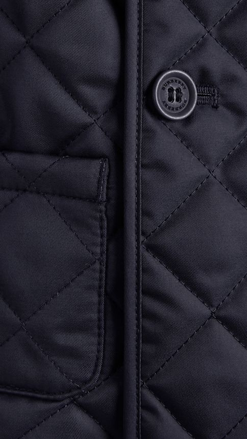 Navy Collarless Diamond Quilted Jacket Navy - Image 3