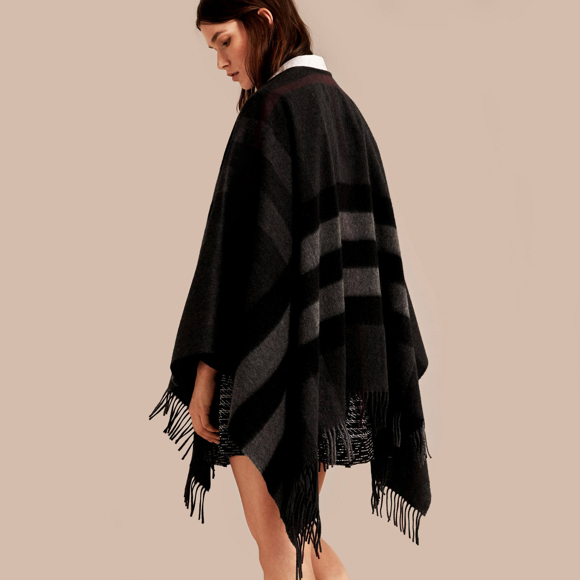 Charcoal Check Cashmere and Wool Poncho Charcoal - gallery image 3