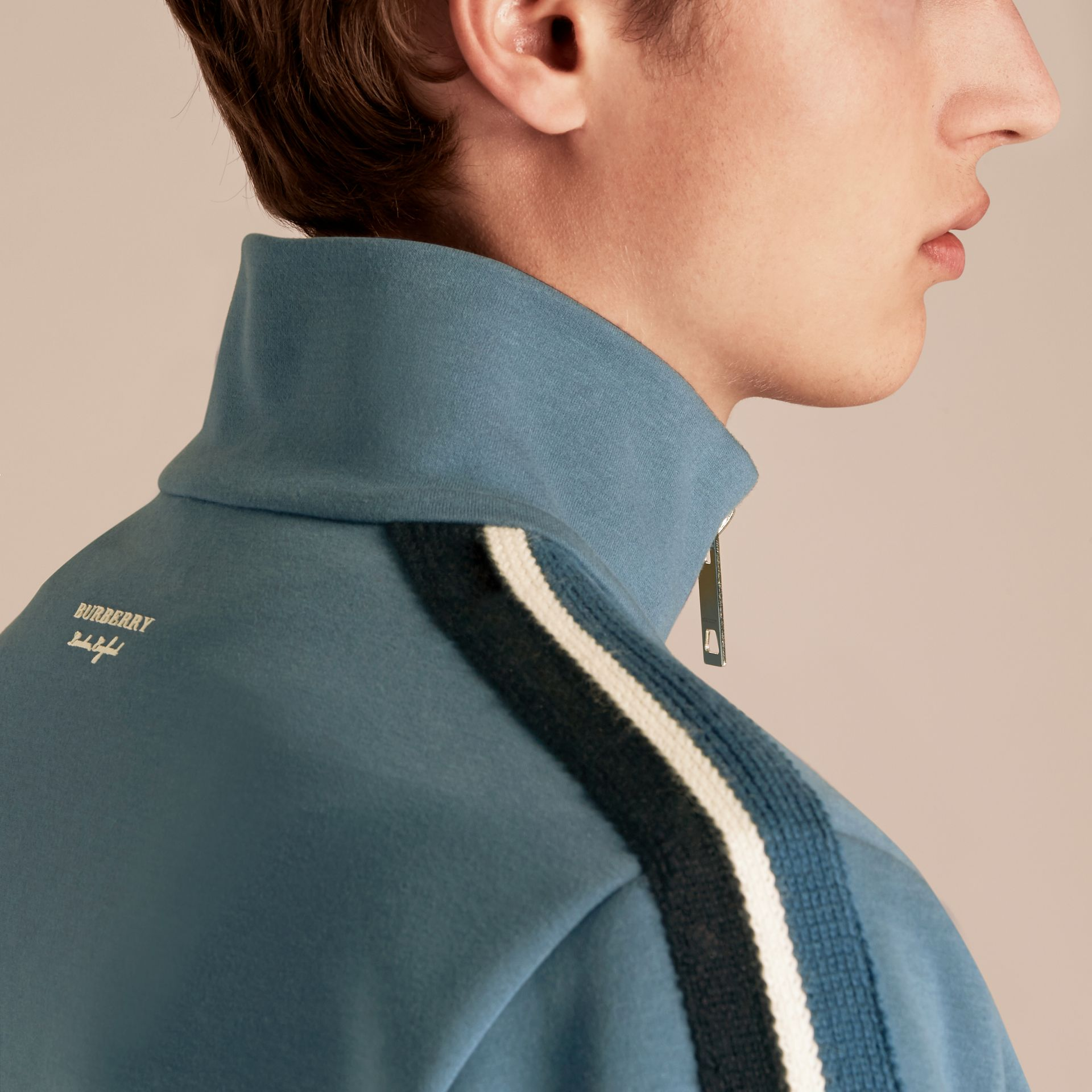 Stripe Detail Cotton Blend Jersey Track Top - gallery image 5