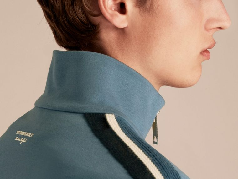 Stripe Detail Cotton Blend Jersey Track Top - cell image 4