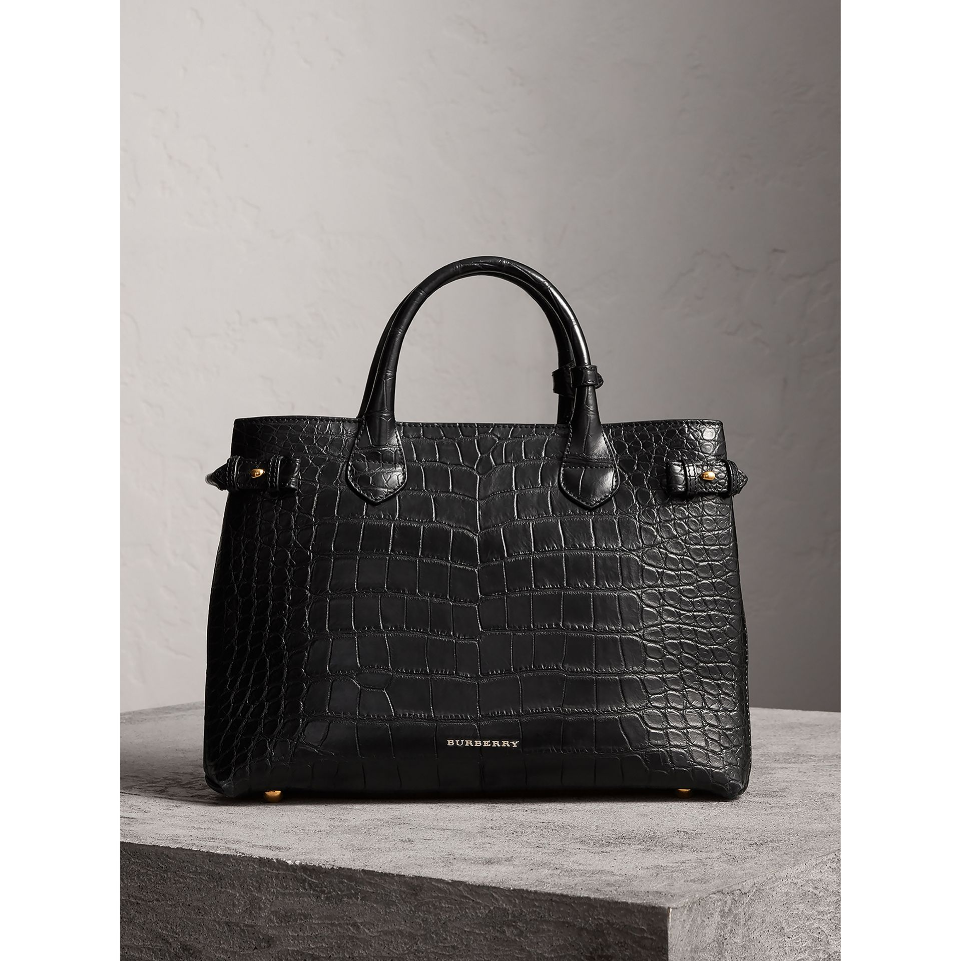 The Medium Banner in Alligator in Black - Women | Burberry United Kingdom - gallery image 8