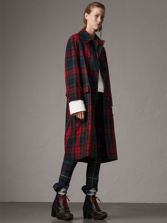 Tartan Cotton Gabardine Car Coat in Bright Red