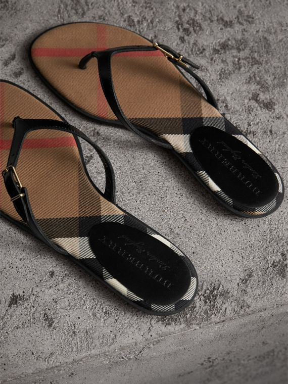 House Check and Patent Leather Sandals in Black - Women | Burberry - cell image 2