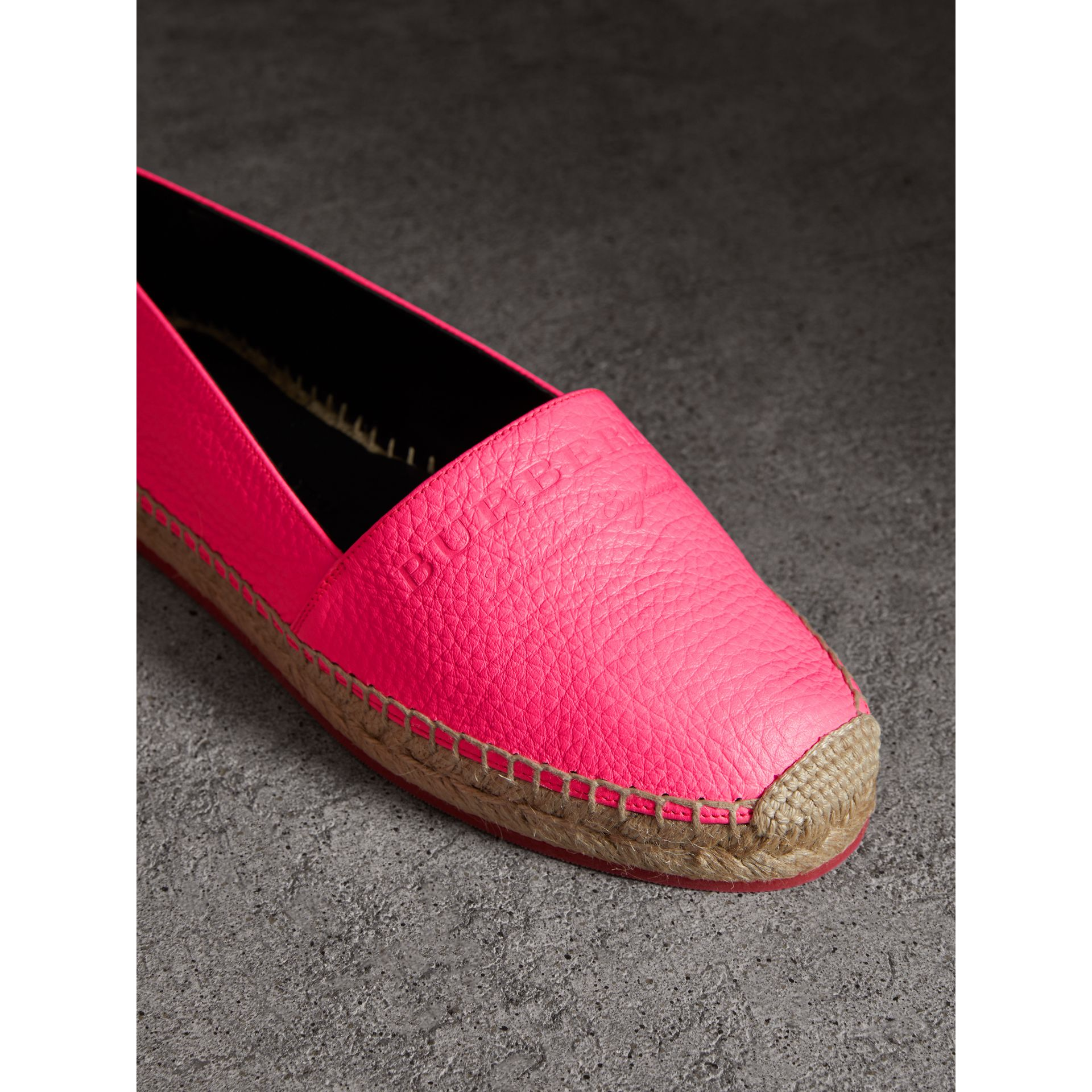 Embossed Grainy Leather Espadrilles in Neon Pink - Women | Burberry United States - gallery image 1