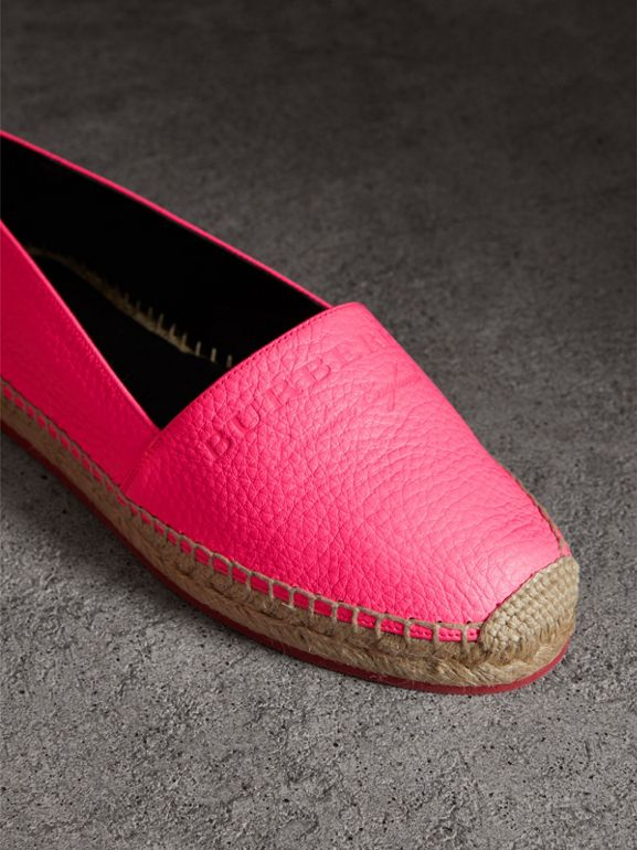 Embossed Grainy Leather Espadrilles in Neon Pink - Women | Burberry United Kingdom - cell image 1