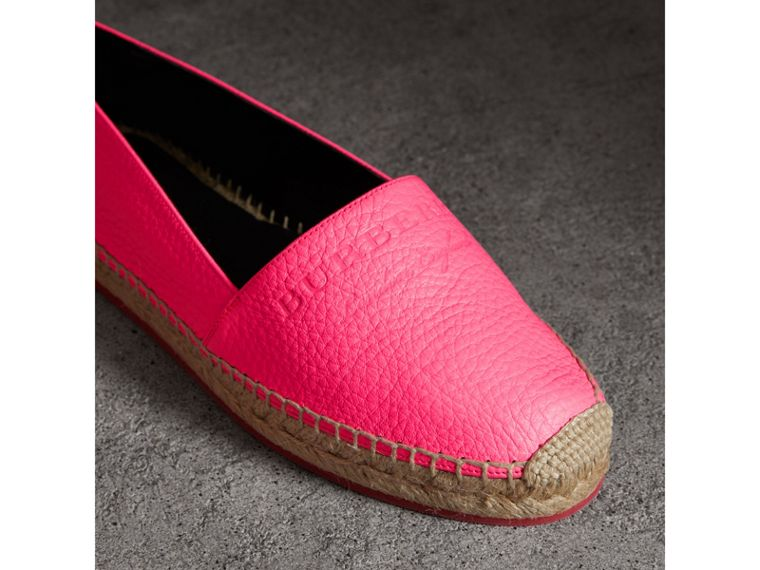 Embossed Grainy Leather Espadrilles in Neon Pink - Women | Burberry Australia - cell image 1