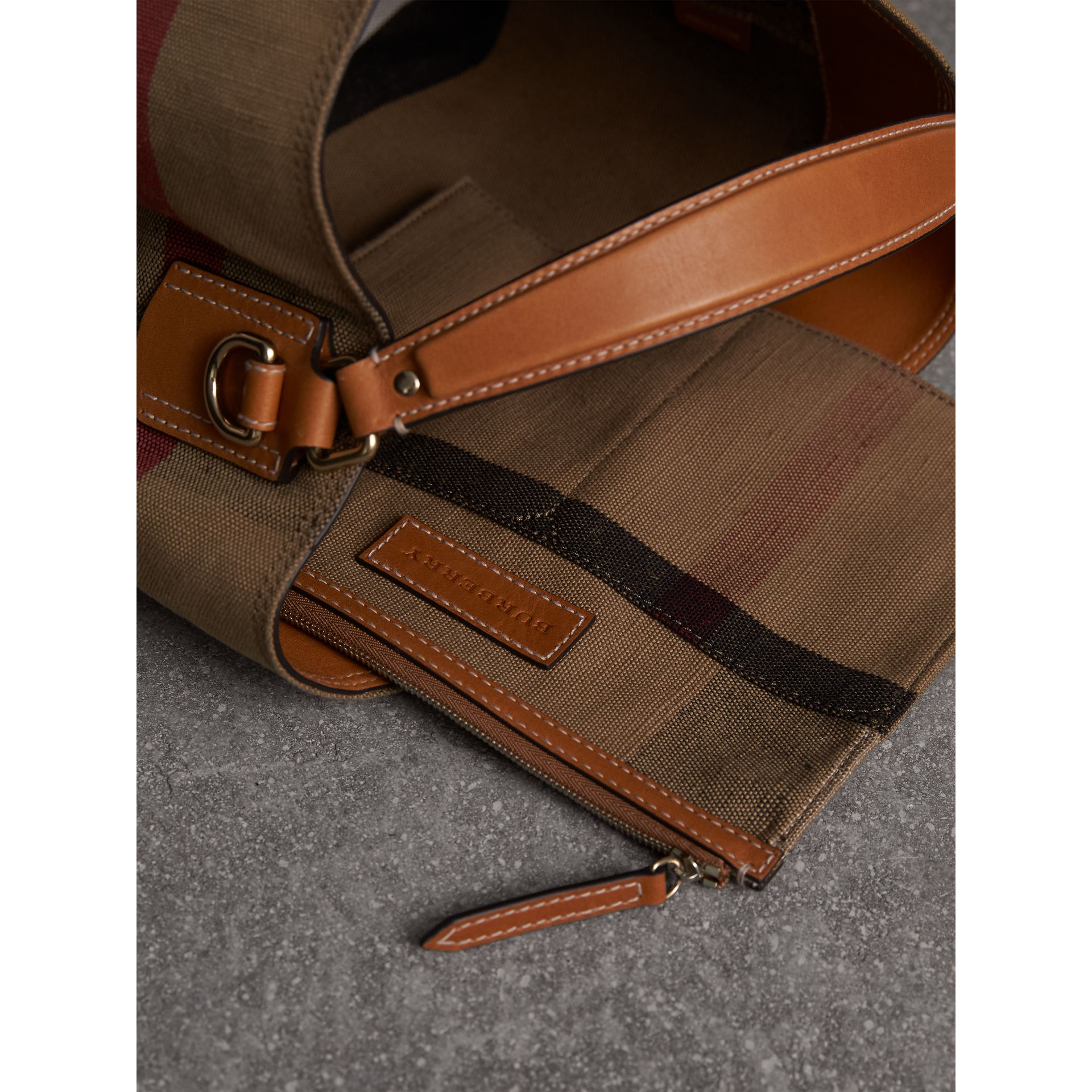 Medium Canvas Check Hobo Bag in Saddle Brown - Women | Burberry - gallery image 6