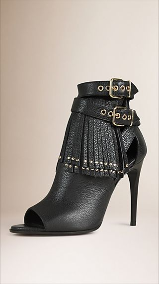 Tasselled Peep-toe Leather Ankle Boots