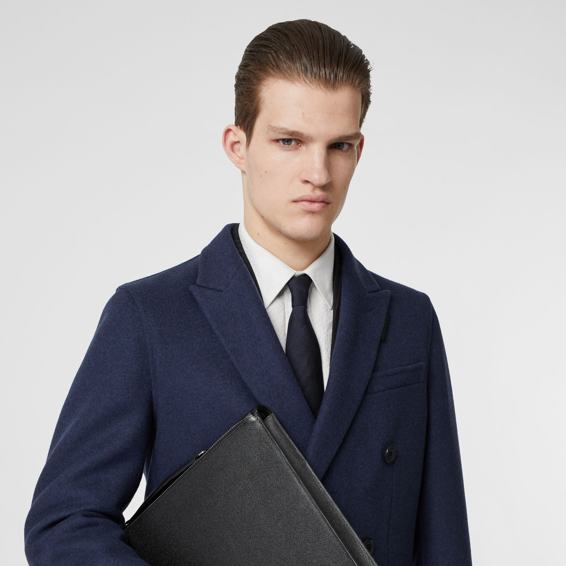 Classic Cut Check Silk Jacquard Tie in Navy - Men | Burberry United Kingdom - gallery image 2