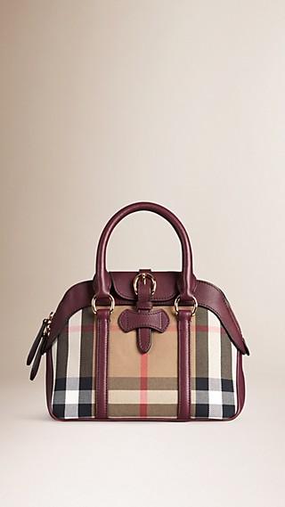 Petit sac bowling en coton avec motif House check et cuir