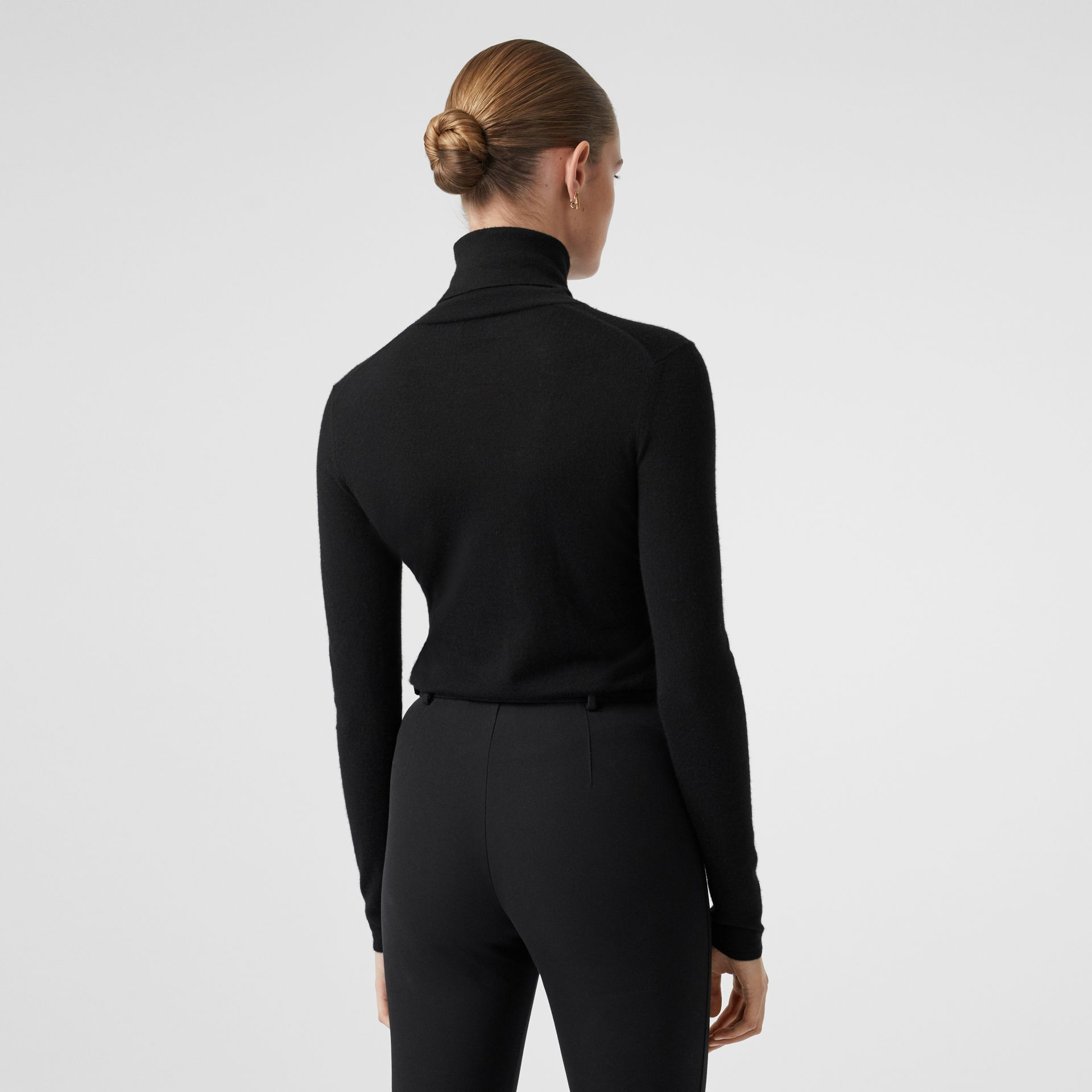 Logo Embroidered Cashmere Silk Roll-neck Sweater in Black - Women | Burberry Canada - gallery image 2